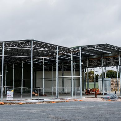 The roof is up on our 8 room Agronico coolstore extension